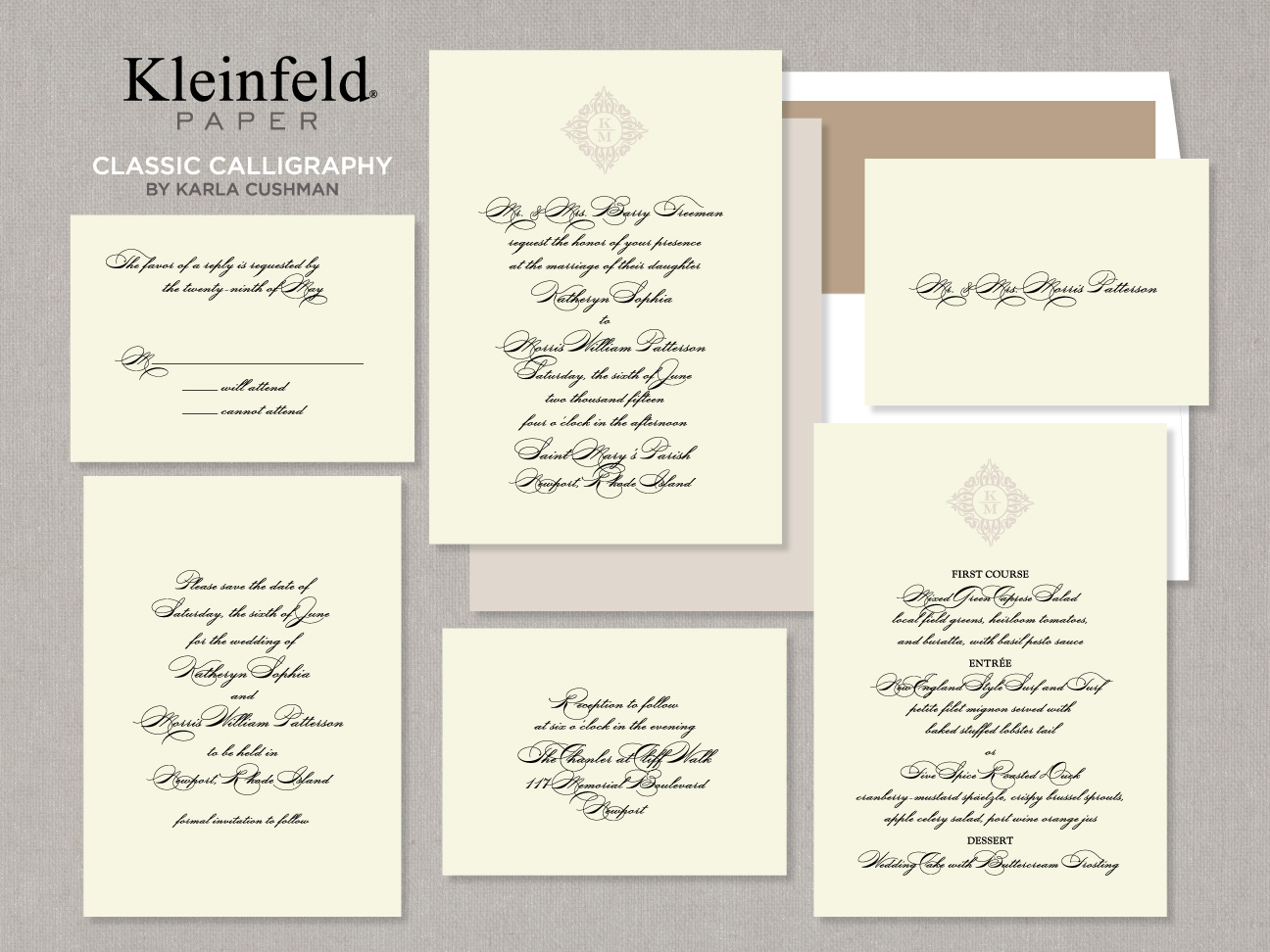 """Classic Caligraphy"" by Kleinfeld Paper"